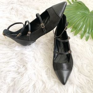 Isola   Leather buckle pointed toe flats